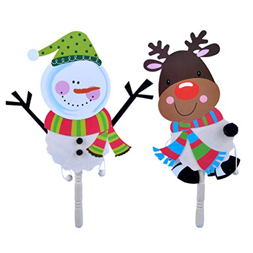 BESTOYARD 2 STÜCKE Weihnachten DIY Rassel Trommel mit Weihnachten Schneemann Rentier für Kinder DIY Spaß Xmas Party Favors - Party Rattle Favor