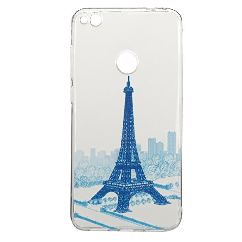 Coque Huawei P8 Lite 2017,Coque en Soft Silicone TPU Transparente pour Huawei Honor 8 Lite,Ekakashop Ultra Slim-fit Jolie Fille Robe Blanc Dessin Antidérapant Coque de Protection TPU Flexible Souple C Tour Bleu