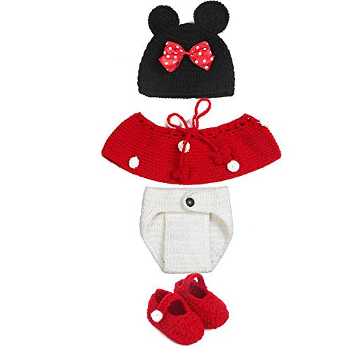 Vektenxi Baby Mickey Dress Up Set Mickey Mouse Kostüm Baby Handgemachte Weben Kleidung für Kunst Foto Requisiten