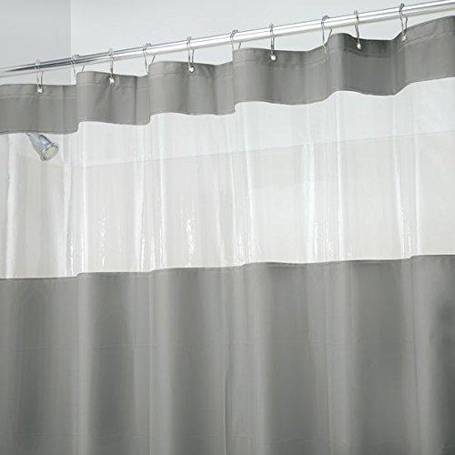 mDesign rideau de douche sans PVC en gris humble avec fenêtre – accessoire de salle de bains idéal – dimensions idéales: 183 cm x 183 cm – rideau de baignoire durabl
