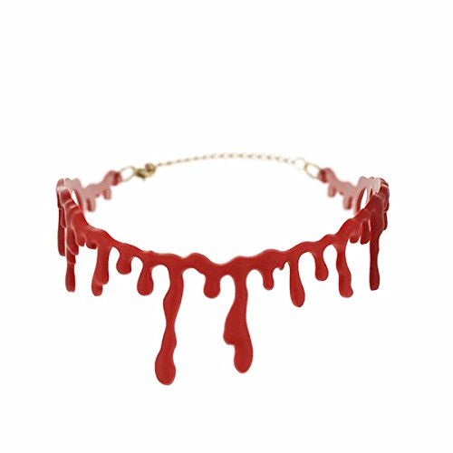 AOHANG Bloody Scar Necklace Dripping Blood Horrible Thin Drip Red Blood Chain Gothic Creepy Choker Necklace for Halloween Party Supplies