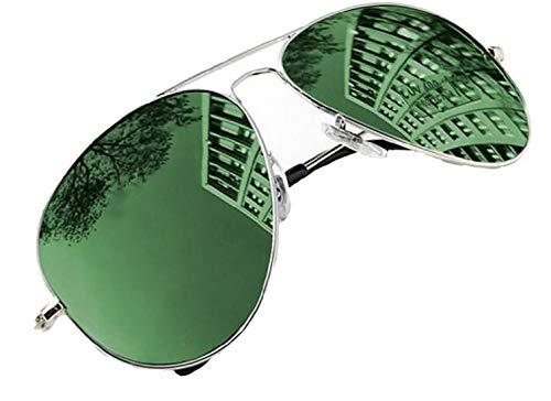 4sold Sonnenbrille in vielen Farbkombinationen Klassische Brille Unisex Sonnenbrille (Spiegel grün) Grün Spiegel