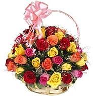 Floralbay Special Basket Arrangement of 40 Mix Roses Fresh Flowers