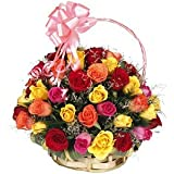 Floralbay Special Basket Arrangement of 40 Mix Roses Fresh Flowers
