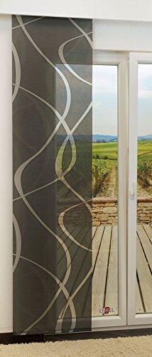 LYSEL Schiebegardine Coloma transparent mit Linien in den Maßen 245 cm x 60 cm schwarz/anthrazit