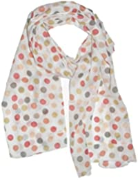 Scarf Store Women's Polka Dots Scarf (DBG 11 Red Peach Pink Free Size)