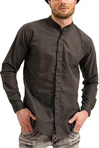 trueprodigy Casual Herren Marken Hemd Einfarbig Basic, Oberteil Cool und Stylisch mit Stehkragen (Langarm & Slim Fit), Shirt für Männer Vintage, Größe:L, Farben:Schwarz