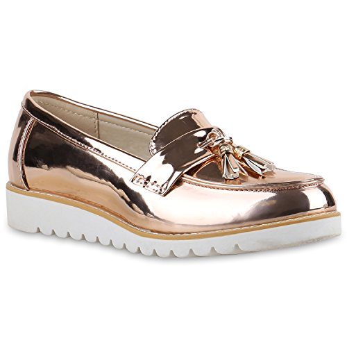 Damen Slipper Lack Plateau Loafers Metallic Schuhe Profilsohle Loafer Flats Glitzer Slippers Quasten Lochung Flandell Gold Rose Lack