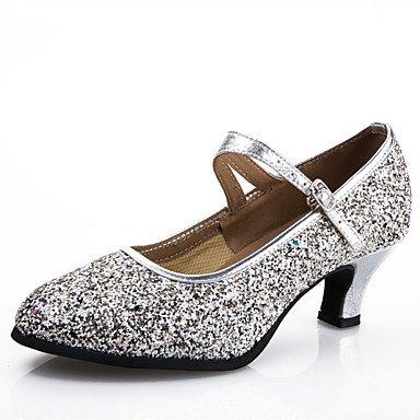 Silence @ Chaussures de danse pour femme moderne synthétiques au niveau du talon Noir/bleu/rose/argenté/doré doré