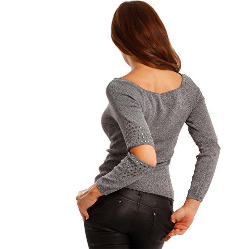Damen Nieten Pullover Langarm und Cut-out an den Ellenbogen Slim Fit Grau