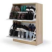 IDMarket - Meuble à chaussures imitation hêtre 2 portes blanches