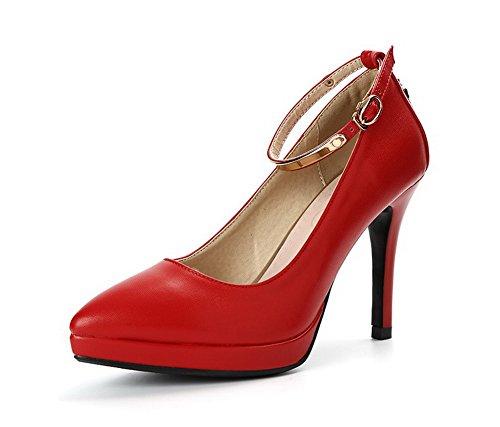 AllhqFashion Damen Schnalle Spitz Zehe Hoher Absatz Gemischte Farbe Pumps Schuhe Rot