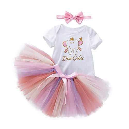 (bestshope Kleinkind Neugeborenes Baby Brief Strampler + Regenbogen Tutu Kleid Outfits Set)