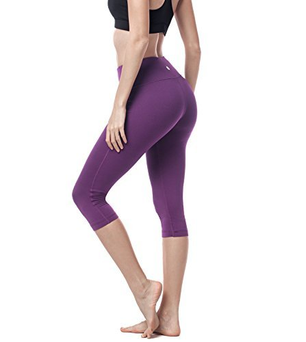 Lapasa Damen 3/4 Sport Leggings – blickdicht, dehnbar und luftig, 3/4 Yoga Sporthose, Damen kurz Training Tights, L002 (XS / X-Small ( Taille 61 – 64 cm ), Violett)
