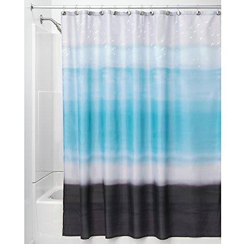 hvorhang | kunstvoller Vorhang für Badewanne und Dusche in 183,0 cm x 183,0 cm | Duschvorhang aus Stoff mit Aquarellmuster| Polyester blau/schwarz ()