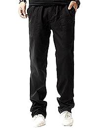Pantalones de lino ocasionales de los hombres Pantalones de cintura elásticos ligeros con los bolsillos ufCEvyEz2T