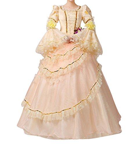 Nuoqi Damen Viktorianisch Kleid Palace Mittelalterliche Kleider Cosplay Kostüm Satin Gotisch Maskerade Kleidung (42, CC2956A-NI)