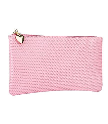 SIX Kosmetiktasche, Kulturtasche, Damen Accessoire, Kosmetikbeutel, Make-up Bag, Herz, goldfarben, rosa, pink (129-650)