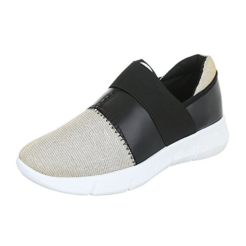Slipper Damenschuhe Low-Top Stretch Ital-Design Halbschuhe Schwarz Gold
