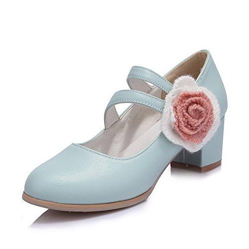 VogueZone009 Femme Velcro Pu Cuir Rond à Talon Correct Couleur Unie Chaussures Légeres Bleu