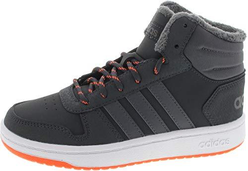 adidas Unisex-Kinder Hoops Mid 2.0 Basketballschuhe, Grau Carbon/Grefiv/Hireor, 35.5 EU