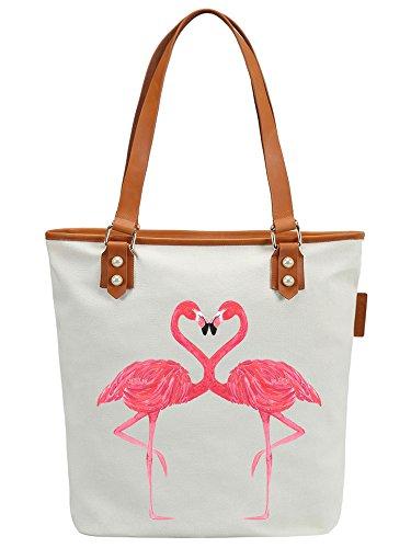 S.CHU Women's Flamingo Canvas Leather Tote Handbag Ladies Shoulder Bag Weiß