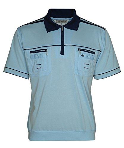 Blousonshirts Poloshirts mit kurzen Ärmeln einfarbige Polohemden Herren M/5XL Hellblau