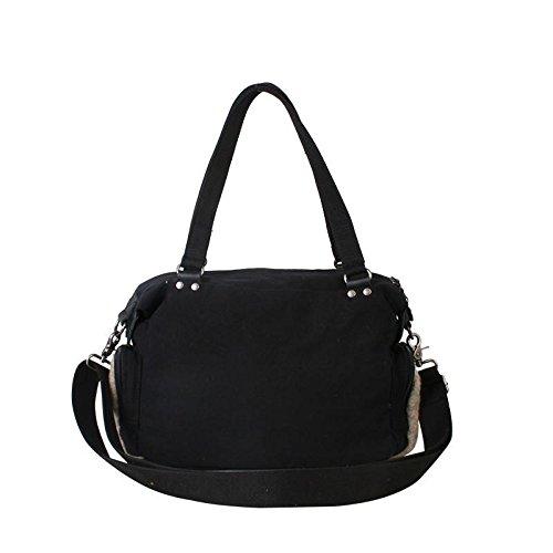 &ZHOU femminile borsa di tela grande capacità del messaggero sacchetto di svago di moda borsa a tracolla zaino 30 * 22 centimetri , black Black