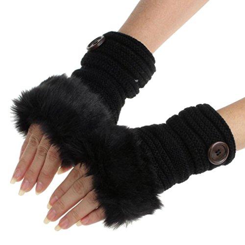 Sorella'z Fur Fingerless Black Knitting Wool Mittens Wrist Winter Gloves for Women
