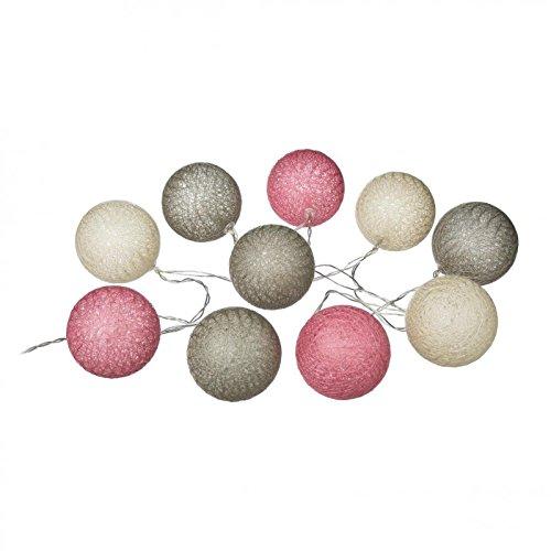 AC-Déco Guirlande LED 10 Boules - D 6 cm - Lin Rose et Ivoire