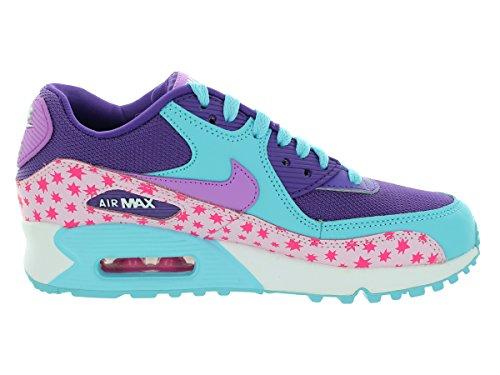 Nike Air Max 90 Prem Mesh (Gs), Chaussures de Running Entrainement Fille Rose / bleu (rose prisme / bleu flaque marine - fuchsia lumineux - rose)