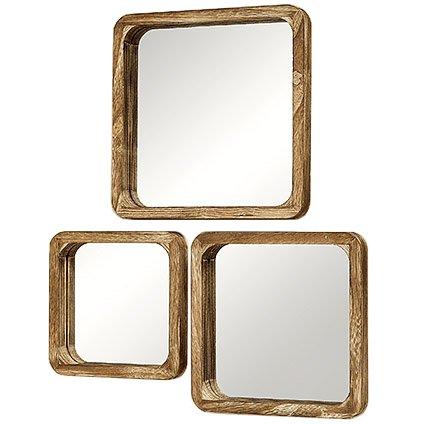 Conjunto de 3 espejos de pared modelos surtidos Altura aprox. 25 - 35 cm Mambo. Hecho de Madera Paulonia Imperial familia de las Paulowniaceae.