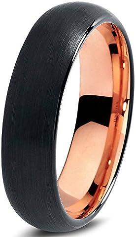 Tungsten Wedding Band Ring 6mm for Men Women Black & 18K Rose Gold Domed Brushed Polished Lifetime GuaranteeSize 57
