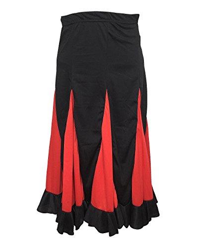 (La Señorita Flamenco Rock Kinder Spanische Kleider schwarz mit roten Streifen (Größe 8, 116-122, Länge 65 cm))