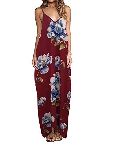 ZANZEA Sommerkleid Damen Ärmellose Maxikleid Blumen Langes Kleid V Ausschnitt Strandkleid Trägerkleid Casual Rot-B16090 EU 42