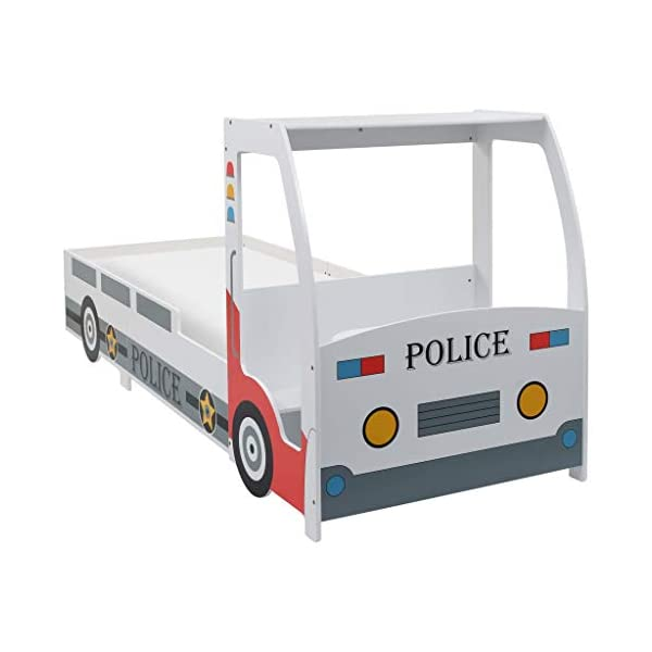 Festnight` Children's Police Car Bed with Desk 90x200 cm Festnight Overall dimensions: 260,5 x 97 x 117 cm (L x W x H) Featuring an appealing police car design and solid construction, this children's bed will be a real eye-catcher in your kid's bedroom. Comfortable, functional, and aesthetically-pleasing, this bed is designed to ensure the utmost comfort and maximum safety for kids. 8
