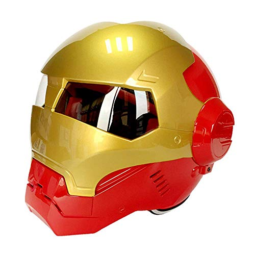 Peakedness Iron Man Motorrad Vollvisierhelm Maske Grimasse Helm Transformers Helm, Motocross Helm Racing Sicherheitshelm Ritter Offroad Helm Cooler Offroad Helm,A,M