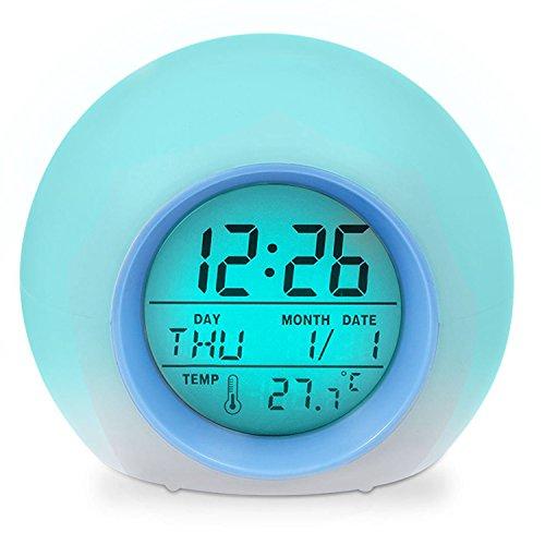 Lodou Wecker, Wake up Licht Digital Uhr mit Innen Temperatur & Kalender & 6Natural Sound & 7Farben wechselnden Licht für Kids, Kinder, Arbeiten Eltern, Studenten Etc. (Blau Blau
