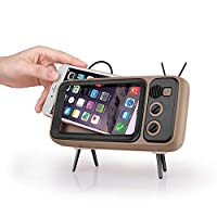 Retro Bluetooth Speaker, Portable Stereo Speaker with TV Shape as Cell Phone Stand Function, Micro USB & Built in Battery, Compatible with iPhone & Android