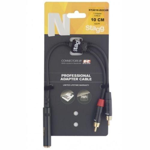 Stagg NYA010/JS2CMR Y-Adapter Kabel (10 cm, Buchse-auf-2x RCA DL Stecker) (Instrument Live-wire Kabel)