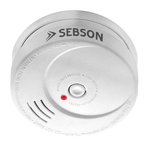 SEBSON 10 Jahres Rauchwarnmelder, Din EN 14604 Zertifiziert, fotoelektrischer Rauchmelder, Lithium...