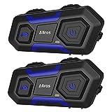 ALLROS T10-1200M Bluetooth Motorradhelm Intercom Motorrad Headset (DSP, IPX6 Wasserdicht, für Navi Auruf Musikhören, USB Aufladen, geeignet auch für Skihelm Fahrradhelm)