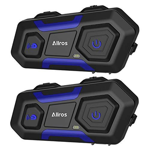 ALLROS T10 Auriculares de Intercomunicación inalámbrica Casco de la Moto Admite hasta 3 Jinetes Comunicación de Llamada grupal con Manos Libres para Moto ATV Esquí de automóvil (2 Auriculares)