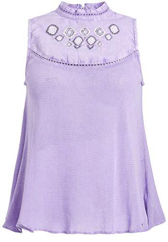khujo Damen Top Leanne im Materialmix mit mehrfarbiger Stickerei ärmelloses Shirt aus Reiner Baumwolle -