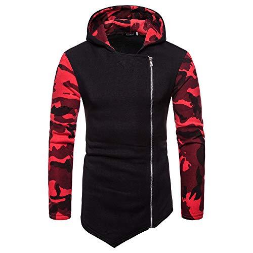 Herren Hoodie,TWBB Camouflage Pullover Kapuzenpullover Seite Reißverschluss Unregelmäßig Lange Ärmel Mantel Outwear Hemd