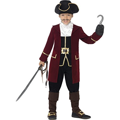 Kinder Piratenkostüm Edel Piraten Kostüm M 7-9 Jahre 128-140 cm Captain Hook Piratkostüm Seeräuberkostüm Freibeuter Kinderkostüm Pirat Faschingskostüm Karnevalskostüme (Hook Kostüm Junge Captain)