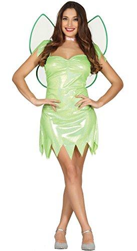 Sexy Grüne Fee Kostüm für Damen Karneval Fasching Märchen Grün Flügel Gr. S-L, ()