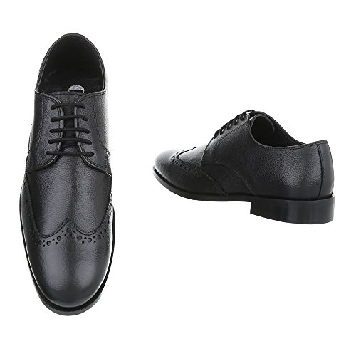 Mens Stile Budapester Oxford Block Tacco Stringato Allacciatura Ital Business Shoes Nero
