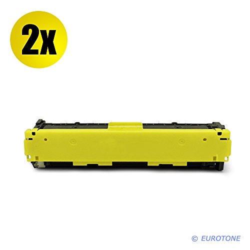 2x Eurotone Toner Kartusche remanufactured für HP Color Laserjet CM 1312 1512 1312 ersetzt gelbe CB542A Patrone - kompatible Premium Alternative - non oem (Cb542a Remanufactured Toner Gelb)