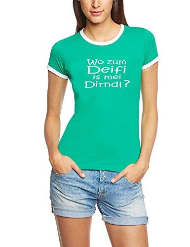 Wo zum Deifi is mei Dirndl ? Damen Ringer Oktoberfest Wiesn T-Shirt green_RIGI RINGER Gr.M